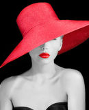 Elegant young woman in red hat Royalty Free Stock Photos