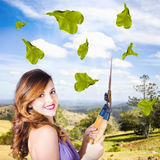 Elegant young woman with shears. Gardening love Royalty Free Stock Photos