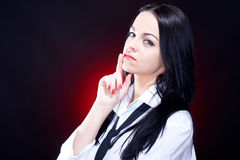 Elegant young woman in white shirt Stock Photography