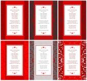6 eleganta bröllopinbjudankort Royaltyfria Bilder