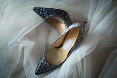Eleganta brud- skor och en skyla Royaltyfri Bild