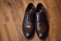 Eleganta bruna skor för man` s Royaltyfria Bilder