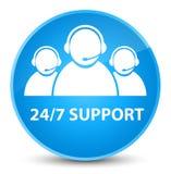 24/7 eleganta cyan blått för service (symbol för kundomsorglag) rundar b Royaltyfri Foto