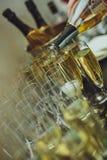 Eleganta exponeringsglas med Champagne Standing i rad på att tjäna som Tabl Royaltyfri Bild