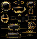 Eleganta guld- och blacketiketter Arkivfoto