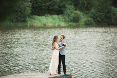 Eleganta härliga brölloppar som poserar nära en sjö på solnedgången royaltyfri fotografi