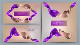 Eleganta inbjudanbaner med två kulöra band vektor illustrationer