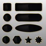 Eleganta knappar för Svart-guld vektorrengöringsduk Fotografering för Bildbyråer