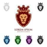 Eleganta Lion King Vector Logo Design med kronan Fotografering för Bildbyråer
