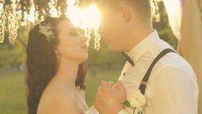Eleganta lyckliga brölloppar, brud och brudgum som kramar i parkera på solnedgången arkivfilmer