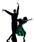 Eleganta pardansare som dansar konturn Royaltyfri Foto