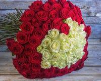 Eleganta röda och vita rosor Arkivbilder