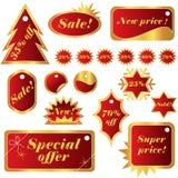 eleganta röda försäljningar som ställs in etikettsvinter Arkivfoton