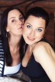 eleganta seende sexiga systrar två för kamera Royaltyfria Bilder