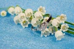 Eleganta smycken och liljekonvalj Royaltyfri Foto