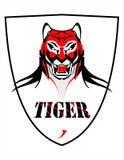 Eleganta Tiger Head över den vita skölden royaltyfri illustrationer
