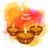Eleganta upplysta tända lampor för lycklig Diwali beröm vektor illustrationer
