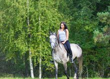 Elegante aantrekkelijke vrouw die een paard berijden royalty-vrije stock afbeelding