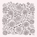 Elegante achtergrond met vogels en rozen Vector Illustratie
