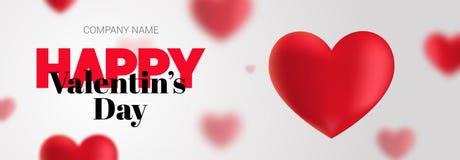Elegante banner met de Dag van tekst Gelukkig Valentine Stock Foto
