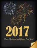 Elegante bedrijfs 2017 prentbriefkaar voor Kerstmis en Nieuwjaar Royalty-vrije Stock Foto