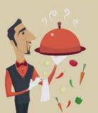 Elegante beheerder of kelner die een dienblad met het dekseldekking van de metaalglazen kap houden Stock Foto's