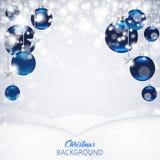 Elegante berijpte Kerstmisachtergrond met blauw en glanzende Christus royalty-vrije illustratie