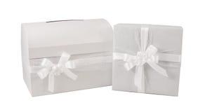 Elegante bianco del presente del contenitore di regalo di nozze isolato Fotografia Stock