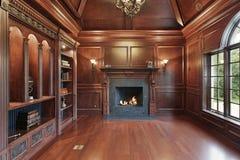 Elegante bibliotheek met zwarte open haard Royalty-vrije Stock Afbeeldingen