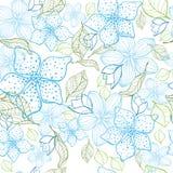 Elegante bloem naadloze achtergrond Blauwe reeks Getrokken hand Stock Foto's