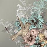 Elegante bloemenachtergrond met bloemen en zoemende vogels stock illustratie