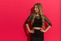 Elegante blonde Frau gegen den roten Hintergrund, der weg schaut Lizenzfreie Stockbilder