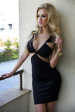 Elegante blonde Schönheitsaufstellung. Stockbilder