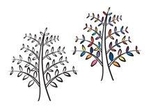 Elegante Boominstallatie met Kleurrijke Bladeren Logo Design Stock Afbeeldingen