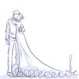 Elegante Braut und hübscher Bräutigam Elefant, der Gitarre spielt lizenzfreie abbildung