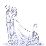 Elegante bruid en knappe bruidegom Vector beeldverhaal Stock Afbeeldingen