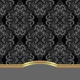 Elegante damastachtergrond met grens voor ontwerp Stock Foto