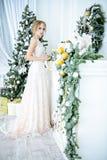 Elegante dame binnen in huwelijkskleding stock foto's