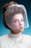 Elegante Dame in einem Pelzmantel mit einem Schleier Stockbilder