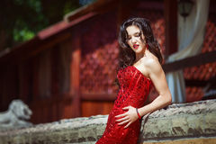 Elegante Dame im roten Kleid draußen Stockfotos