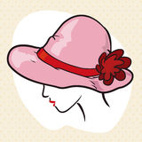 Elegante Dame Silhouette met Elegante Roze Hoed, Vectorillustratie Stock Afbeelding