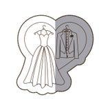 elegante die jasje en kleding met hart wordt gehuwd Royalty-vrije Stock Foto