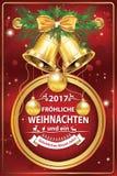 Elegante Duitse collectieve groetkaart voor de winter vakantie 2017 Stock Afbeeldingen
