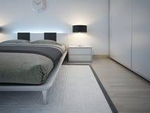 Elegante einfarbige Schlafzimmertendenz Stockfoto