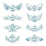 Elegante engelen vliegende vleugels Hand getrokken vector het ontwerpinzameling van de vleugeltatoegering stock illustratie