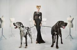 Elegante, ernste Dame mit zwei riesigen Hunden stockfoto