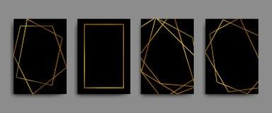 Elegante Flieger des Vektors, Broschüren, Karten, Fahnen mit Goldgeometrischen Grenzen auf schwarzem Hintergrund lizenzfreie abbildung