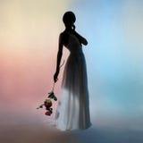 Elegante Frau des Schattenbildes auf Farbhintergrund Lizenzfreie Stockbilder