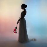 Elegante Frau des Schattenbildes auf Farbhintergrund Lizenzfreies Stockbild