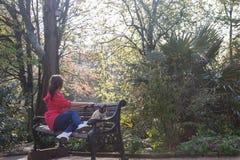 Elegante Frau, die auf einer Bank mit Katze sitzt Grüner Hintergrund und erstaunliche Ansicht Lizenzfreies Stockfoto
